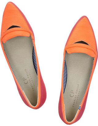 Charles Philip Shanghai Inna two-tone canvas point-toe flats