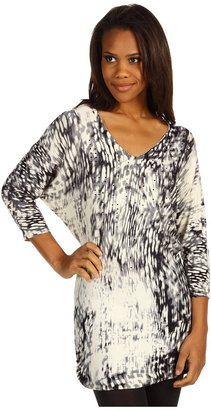 Calvin Klein Jeans L/S V-neck Rouched Tunic w/ Beading (Vanilla) - Apparel