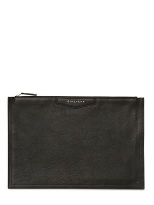 Givenchy Large Pouch Grained Leather Clutch