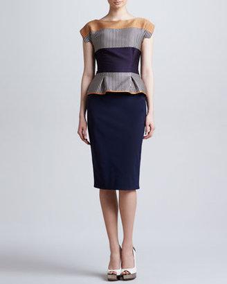Lela Rose Cap-Sleeve Colorblock Peplum Dress