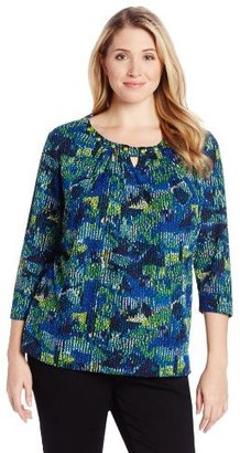 Sag Harbor Women's Plus-Size 3/4 Sleeve Print Knit Top with Stitch Detail At Neck