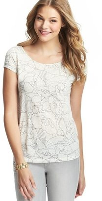 LOFT Petite Outline Floral Burnout Ballerina Button Shoulder Tee