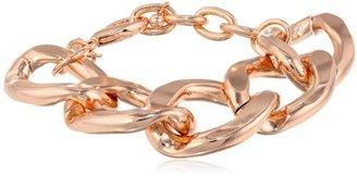 """Kenneth Jay Lane Polished Rose Gold Large Flat Lobster Claw Clasp Link Bracelet, 9"""""""