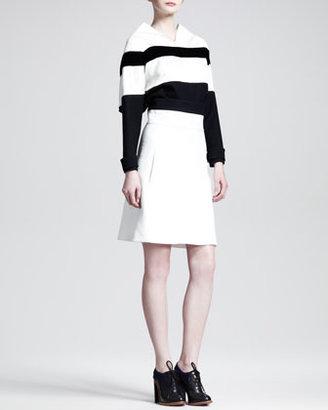 Chloé Two-Tone Wide-Waistband Skirt