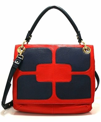 Orla Kiely Stitched Square Flower Ivy - Cranberry