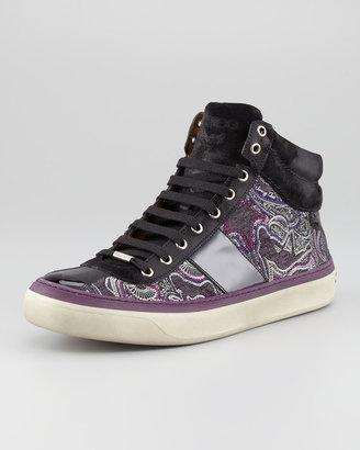 Jimmy Choo Belgravia High-Top Paisley Print Sneaker