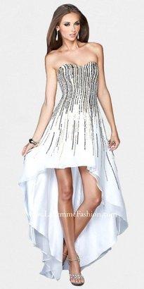 La Femme Multi-colored Sequin Strapless High Low Evening Dresses