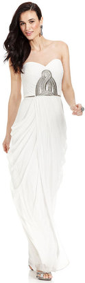JS Collections Dress, Strapless Pleated Beaded Gown