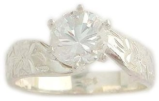 1.0ct CZ Hawaiian Heirloom Jewelry Sterling Silver Engagement Ring-9