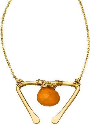 Nashelle Gold And Carnelian Signature Wishbone Necklace