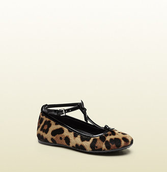 Gucci Jaguar Printed Leather Ballet Flat