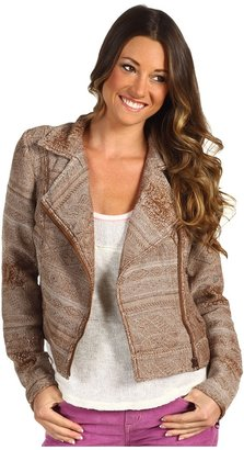 Free People Tapestry Moto Jacket (Brown Combo) - Apparel