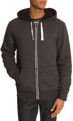 Nixon Identity Sherpa Zip Hooded Black Faded Sweatshirt