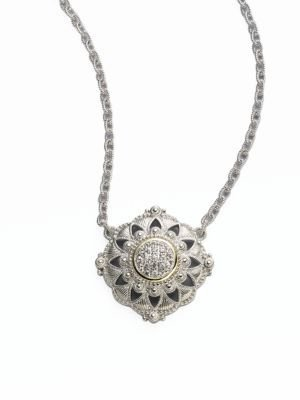 Judith Ripka Windsor White Sapphire, 18K Yellow Gold & Sterling Silver Pendant Necklace