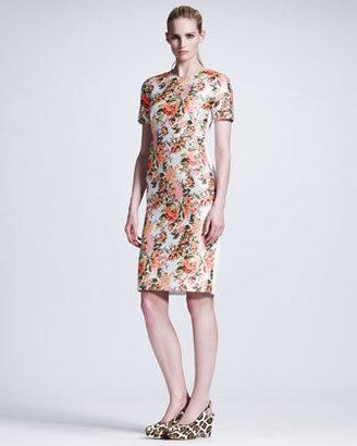 Stella McCartney Floral-Front Short-Sleeve Dress