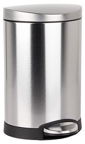 Simplehuman 6L Semi Round Deluxe Step Can - Brushed