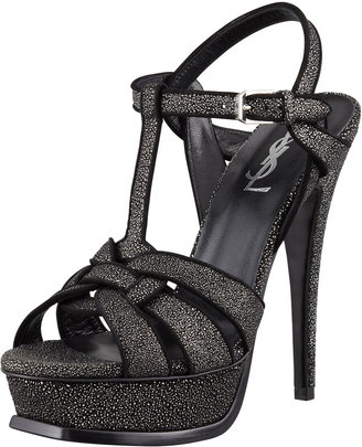 Saint Laurent Tribute Flecked Metallic Sandal, Silver
