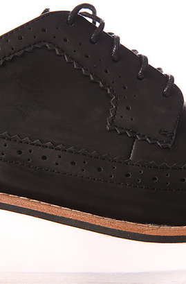 Jeffrey Campbell The Adel Shoe in Black Washed Leather and Lucite (Exclusive)
