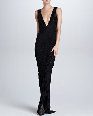 Ralph Lauren Clarissa Beaded Plunging V-Neck Gown, Black