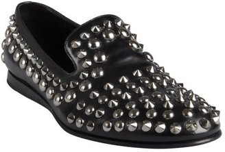 Prada black studded leather loafers
