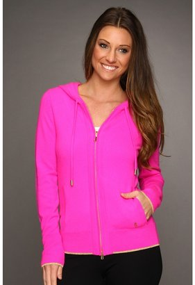 Juicy Couture Cashmere Track Hoodie (Pink Cerise) - Apparel