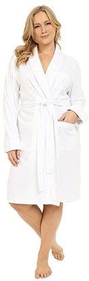 Lauren Ralph Lauren Plus Size Essentials Quilted Collar and Cuff Robe (White) Women's Robe