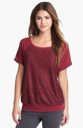 Bobeau Lace Front French Terry Tee