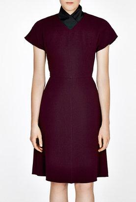 Carven Contrast Collar Crepe Dress