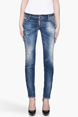 DSquared DSQUARED2 Faded indigo fluorescent and paint Super Slim Jeans