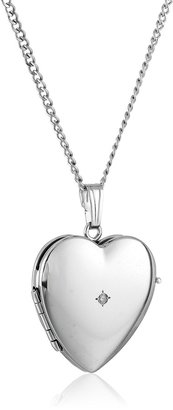 """Amazon Collection Sterling Silver Diamond-Accented Four-Picture Heart Locket Necklace 18"""""""