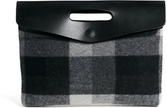Asos Leather And Check Oversized Clutch Bag