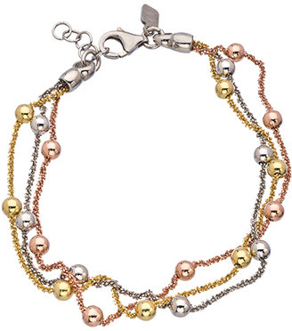 J Weber Silver Rose Gold and Yellow Gold Tricolor Bracelet