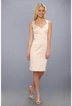 Jessica Simpson Sleeveless Sunburst Pintuck Dress (Champagne) - Apparel