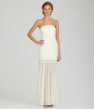Betsy & Adam Strapless Lace Gown