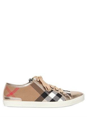 Burberry 20mm Checked Canvas & Calfskin Sneakers