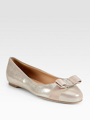 Salvatore Ferragamo Varina Metallic Leather Bow Ballet Flats