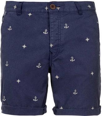 Topman Blue Nautical Motif Shorts