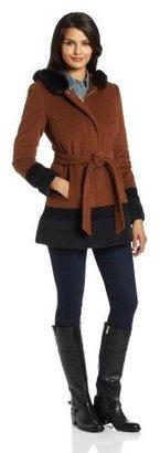 Ellen Tracy Outerwear Women's Color-Block Coat with Fox-Trimmed Hood