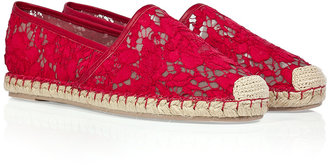 Valentino Lace Espadrilles in Red/Nude