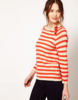 Jaeger Boutique by Bretton Knitted Sweater with Reverse Stripe