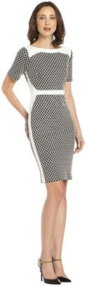 Donna Morgan black and ivory elbow length sheath dress
