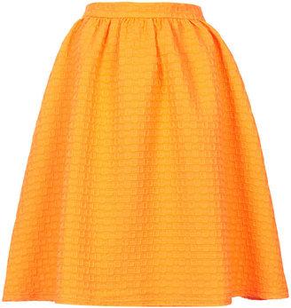 Topshop Texture gathered knee midi skirt