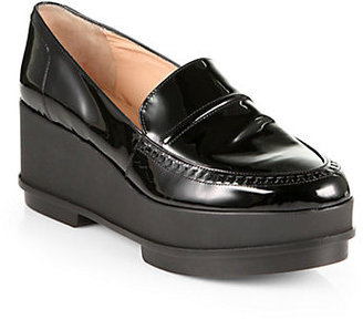 Robert Clergerie Patent Leather Platform Wedge Loafers