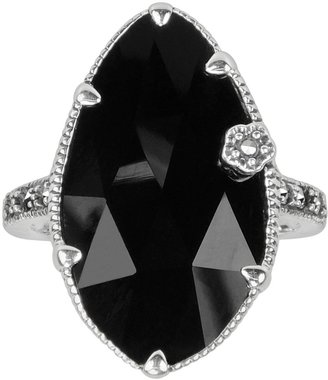 Swarovski Lavish by TJM Sterling Silver Onyx Flower Ring - Made with Marcasite