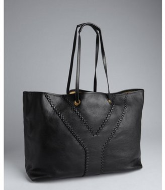 Yves Saint Laurent black and light brown leather 'Neo Double' reversible tote