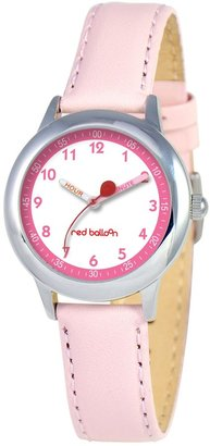 EWatchFactory Red Balloon Kids' W000196 Pink Leather Strap Stainless Steel Time Teacher Watch