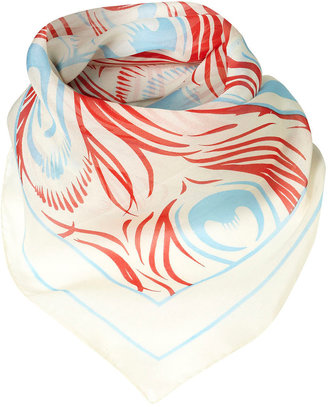 Topshop Turquoise And Red Skeleton Print Silk Scarf By Steve Morris**