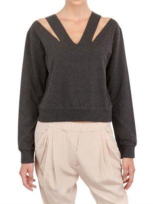 Maison Martin Margiela Cut Out V-Neck Fleece Sweatshirt