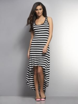 New York & Co. High-Low Striped Maxi Dress