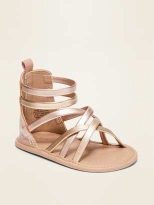 Old Navy Color-Blocked Metallic Faux-Leather Gladiator Sandals for Baby